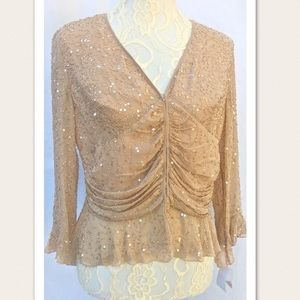 New Bloomingdales Beaded Sequin Evening Blouse Top